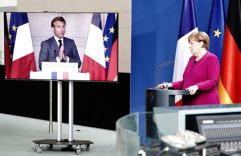 Angela Merkel og Emmanuel Macron fremlagde et fælles forslag om, at EU skal optage fælles gæld.