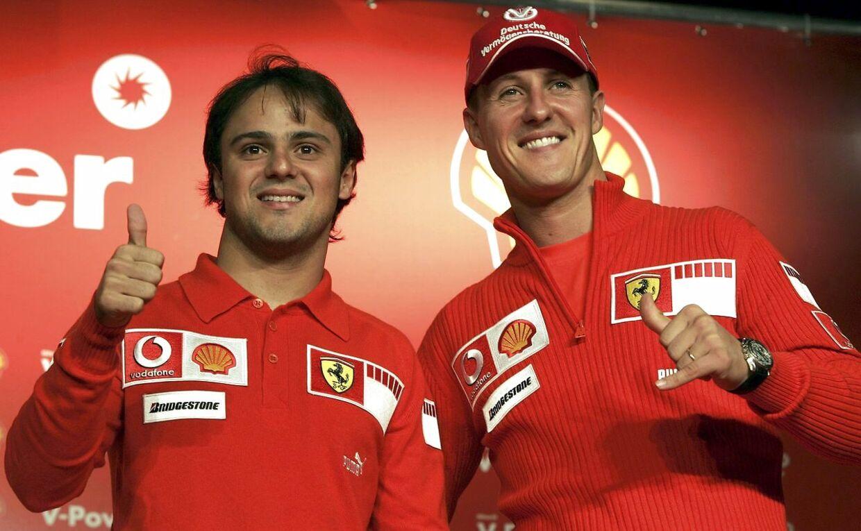 Felipe Massa (tv.) og Michael Schumacher kørte et år sammen hos Ferrari.