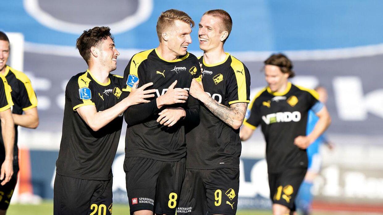 Randers FC's Simon Piesinger har scoret til 1-0 i 3F Superligakampen mellem AGF og Randers FC på Ceres Park i Aarhus. (Foto: Henning Bagger/Ritzau Scanpix)