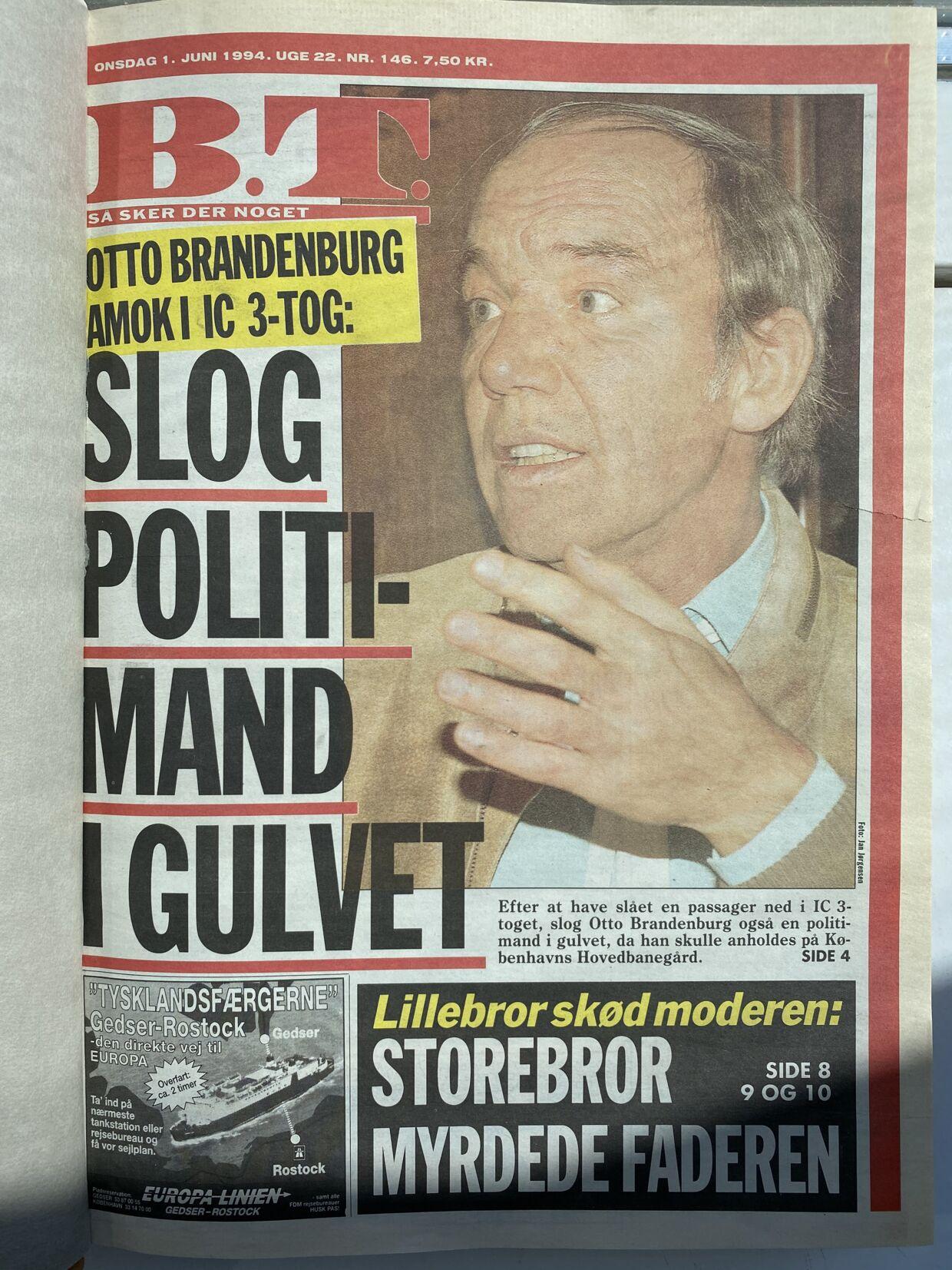 Forsiden af B.T. den 1. juni 1994.
