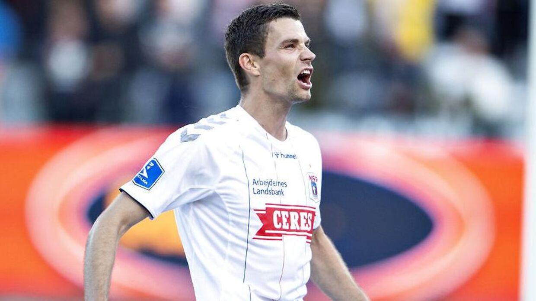 Niklas Helenius blev matchviner i Aarhus mandag aften, da han scorede kampens eneste mål i det 78.minut.