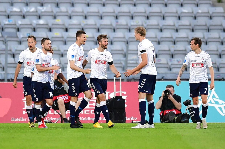 Superliga-kampen mellem AGF og OB på Ceres Park i Aarhus 1. juni 2020.