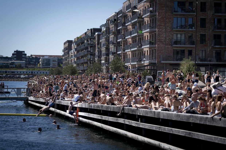 Bade og solgæster nyder sommervejret ved Nordhavn mandag 1. juni 2020. Det er situationer som denne, der har fået politiet til at udnytte muligheden for at lave opholdsforbud. (Foto: Liselotte Sabroe/Ritzau Scanpix)