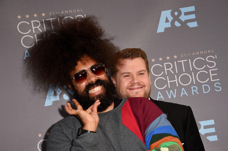 Arkivfoto af Reggie Watts og James Corden.