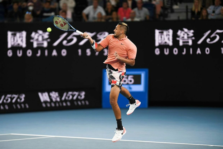Nick Kyrgios i aktion mod Rafael Nadal ved Australian Open i år.
