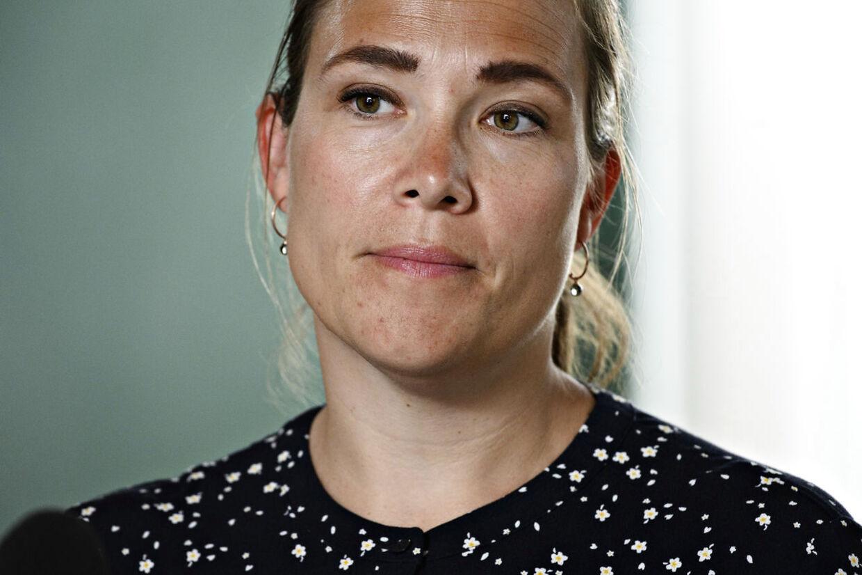 Social- og indenrigsminister Astrid Krag (S), da regeringen og Danske Regioner præsenterer økonomiaftale om regionernes økonomi for 2021 på et pressemøde i Finansministeriet fredag 29. maj 2020.