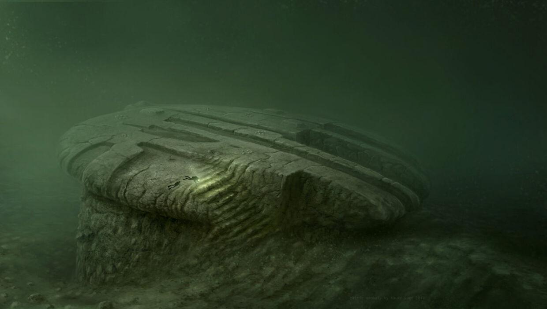 Billedet er en kunstnerisk gengivelse af den mystiske genstand på havets bund, som ingen endnu ved, hvad er.