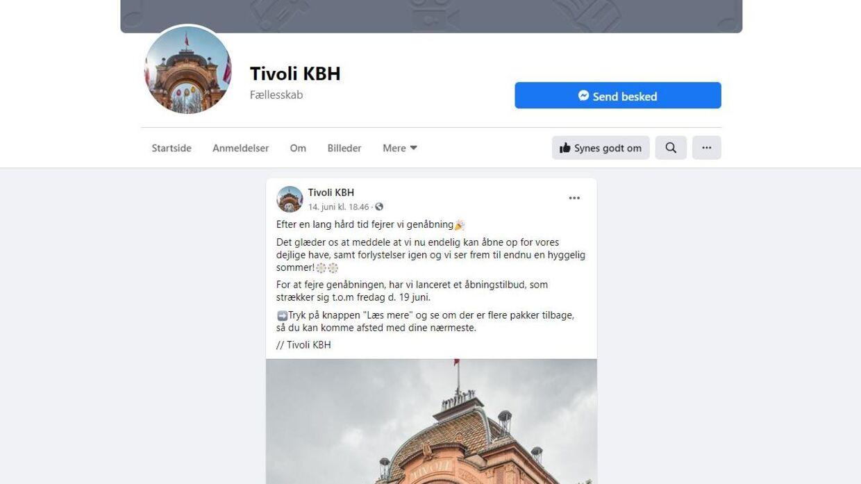 Sådan ser den falske Tivoli-Facebookside med det falske opslag ud.