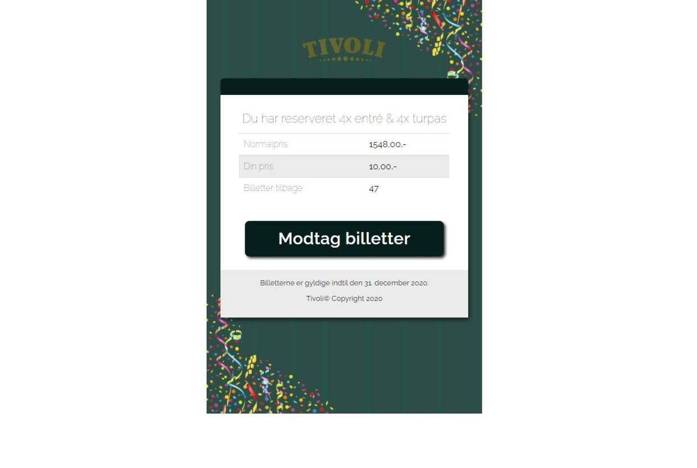 Sådan ser det ud, når man klikker sig videre på linket i det falske Tivoli-opslag.