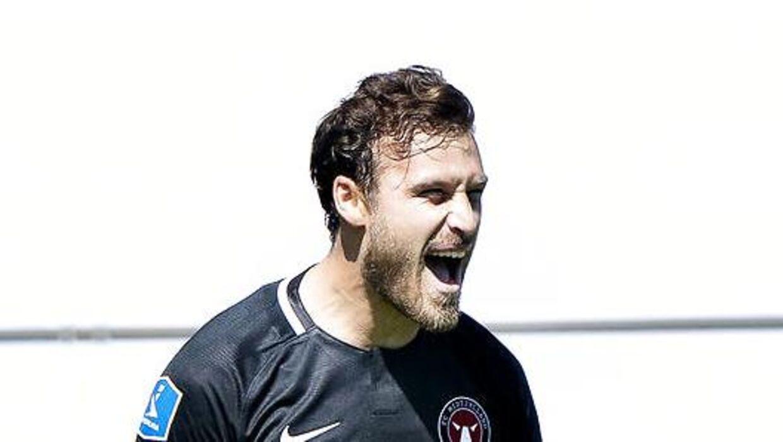 FC Midtjyllands Erik Sviatchenko har scoret til 1-0 i 3F Superligakampen mellem Aab og FC Midtjylland på Aalborg Portland Park, søndag den 14. juni 2020.