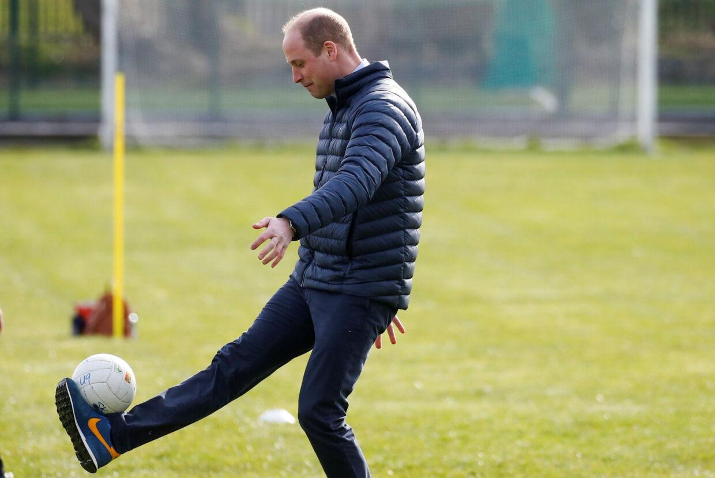 Prins William er ansigtet udadtil for initiativet Heads Up, hvor han sammen med det britiske fodboldforbund, FA, skaber opmærksomhed omkring psykisk sundhed i britisk fodbold. (Arkivfoto) Phil Noble/Reuters