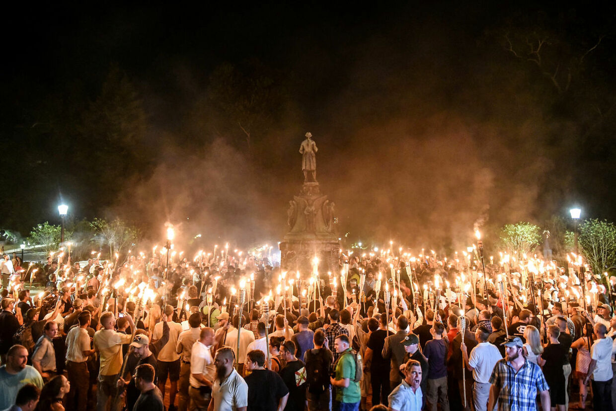 White nationalists participate in a torch-lit march on the grounds of the University of Virginia ahead of the Unite the Right Rally in Charlottesville, Virginia on August 11, 2017. Picture taken August 11, 2017. REUTERS/Stephanie Keith TPX IMAGES OF THE DAY