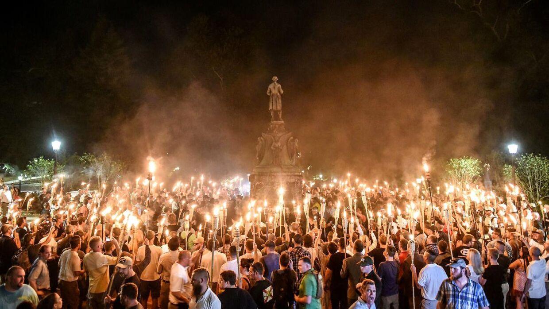 Hvide nationalister ved en demonstration i Charlottesville, Virgina, i 2017.