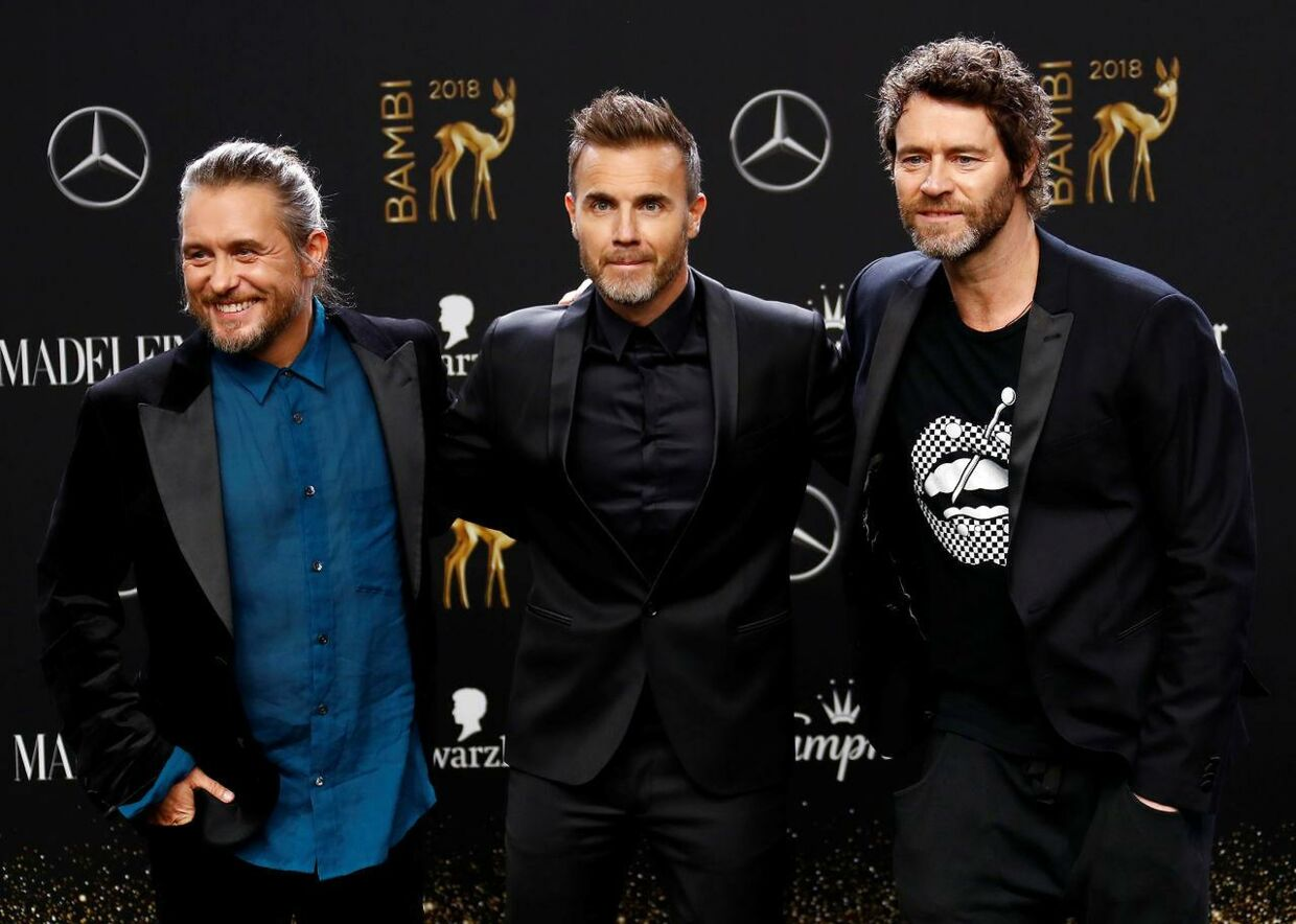 Mark Owen, Gary Barlow og Howard Donald udgør i dag det populære boyband Take That.