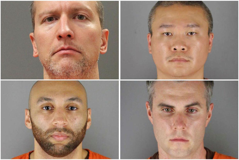 De fire sigtede i sagen om George Floyds død: Derek Chauvin, Tou Thao, Thomas Lane og J. Alexander Kueng.