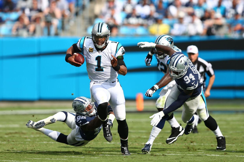 Carolina Panthers' tidligere quarterback Cam Newton (1) skriver ifølge ESPN under med New England Patriots. (Arkivfoto). Jeremy Brevard/Ritzau Scanpix