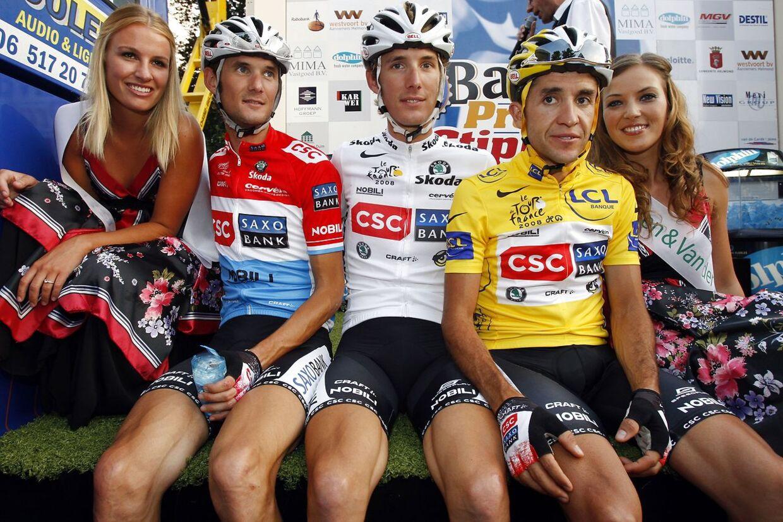 Frank Schleck, Andy Shleck og Carlos Sastre i 2008, kort efter spanierens Tour de France-sejr.