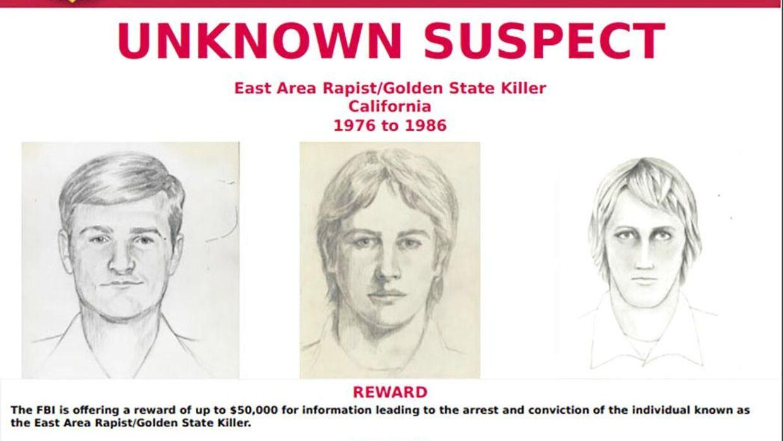 """FBI's eftersøgningsplakat med forskellige fantomtegninger af """"Golden State Killer""""."""