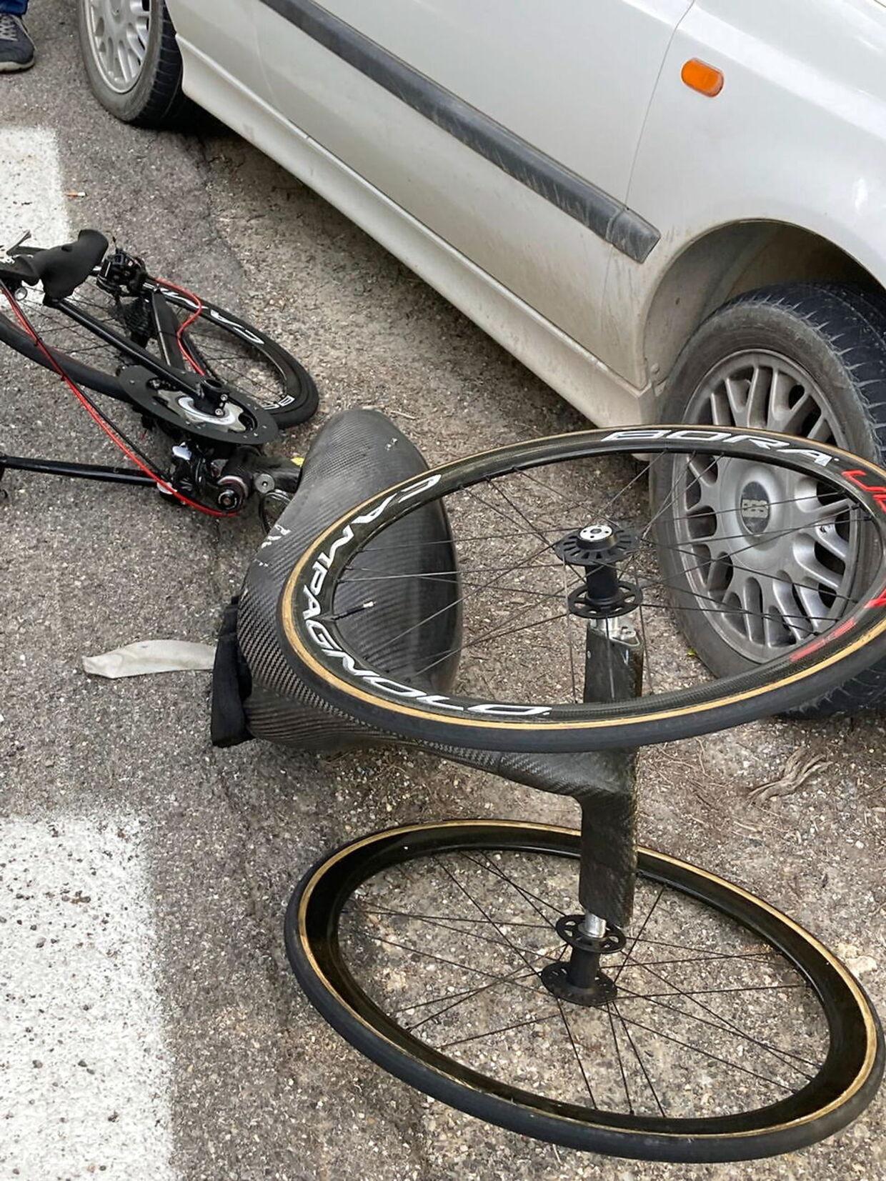 Alex Zanardis håndcykel efter ulykken.