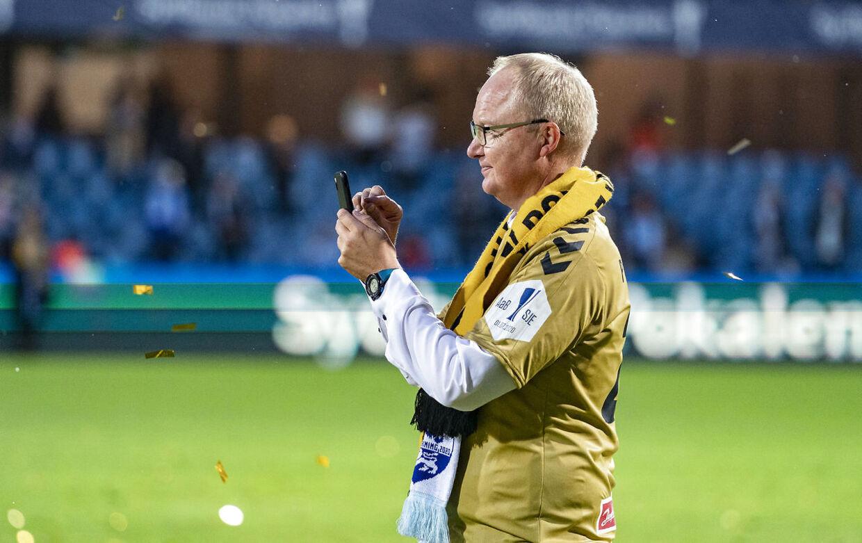 Sønderjyske Pokalvinder 2020 - Her Glen Riddersholm (Sønderjyske - Træner) . Finale i Sydbank Pokalen: AaB - SønderjyskE. Bluewater Arena Esbjerg onsdag den 1 juli 2020.. (Foto: Claus Fisker/Ritzau Scanpix)