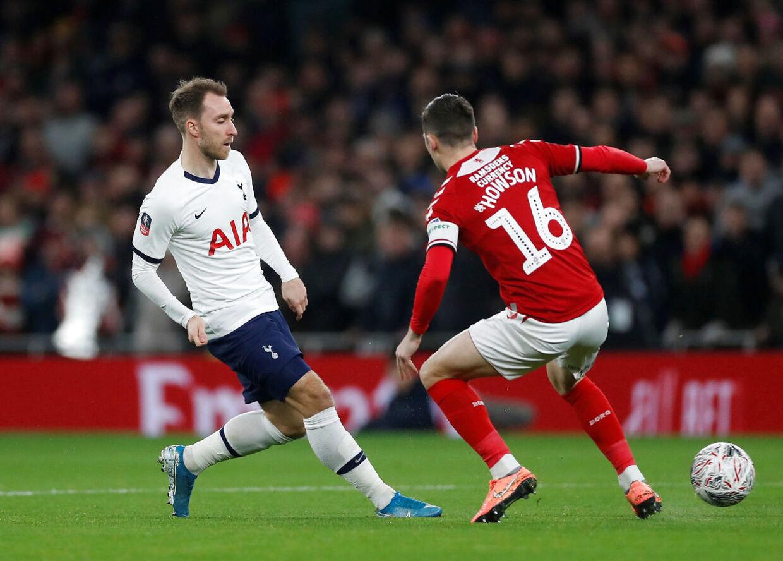 Eriksen i kamp mod Middlesbrough for Tottenham i januar 2020. Det var en af hans sidste for London-klubben.