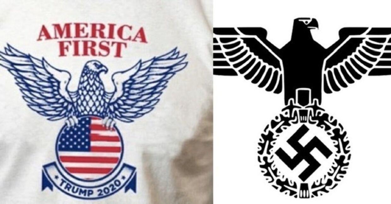 Til højre Donald Trump-kampagnens nye logo. Til højre den berygtede Nazi-ørn.