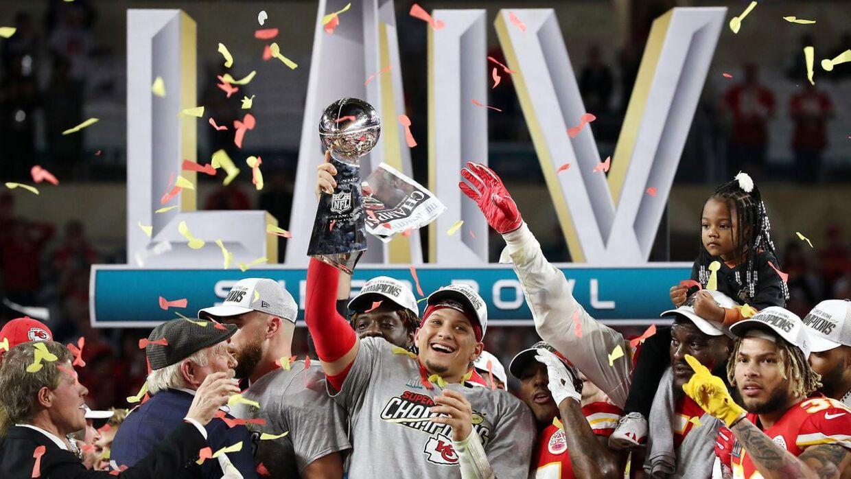 Patrick Mahomes efter Super Bowl-sejren over San Francisco 49ers tilbage i Februar.