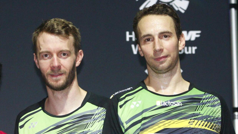 Carsten Mogensen og Mathias Boe ved 2018 Swiss Open.