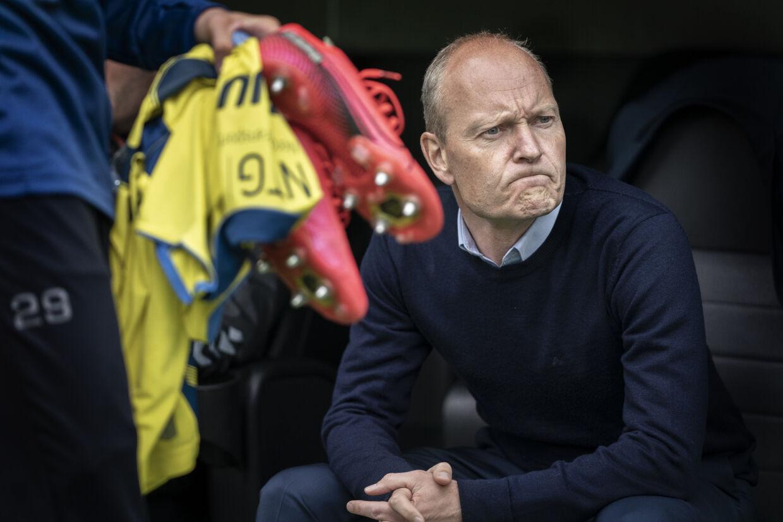 Niels Frederiksen og Brøndby fik 0-0 med fra Parken søndag. Vestegnsklubben fik dog annulleret et mål i overtiden for en offside, der ikke var der. Liselotte Sabroe/Ritzau Scanpix