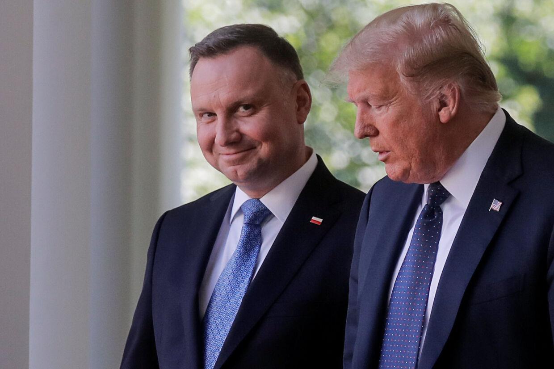Polens præsident, Andrzej Duda, besøgte den amerikanske præsident, Donald Trump, i Det Hvide Hus onsdag 24. juni - fire dage før første runde af det polske præsidentvalg. Carlos Barria/Reuters