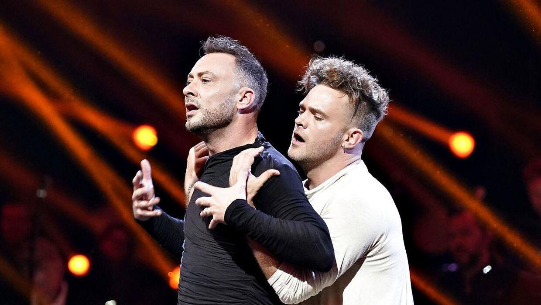 """Jakob Fauerby og Silas Holst ses her ved finalen i """"Vild med dans"""", som de vandt i Forum Horsens, fredag den 28. november 2019."""