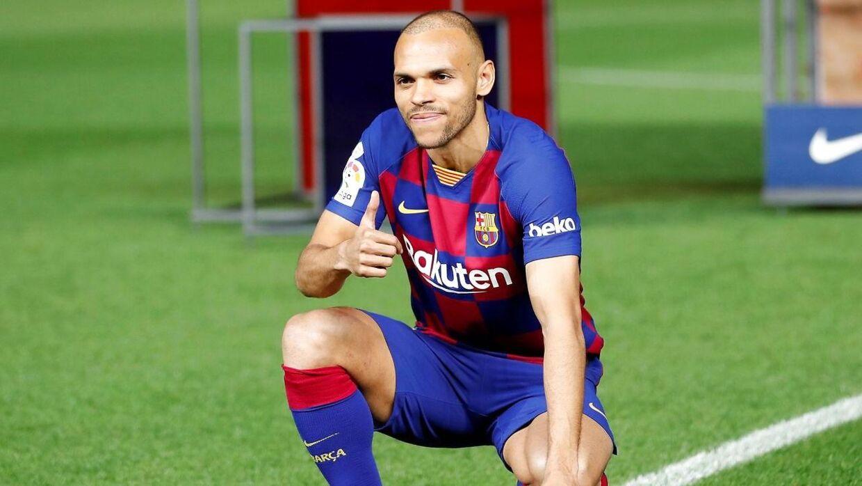 Sådan så det ud, da Martin Braithwaite blev præsenteret i FC Barcelona den 20. februar.