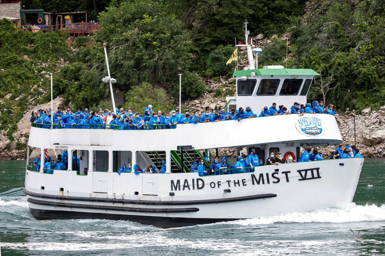 The American tourist boat Maid Of The Mist, limited to 50 % occupancy under New York state's rules amid the spread of the coronavirus disease (COVID-19), is seen in Niagara Falls, Ontario, Canada July 21, 2020. REUTERS/Carlos Osorio
