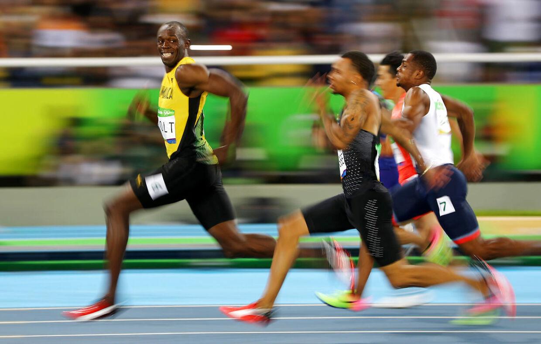 Usain Bolt med den hurtige afslutning under OL 2016.