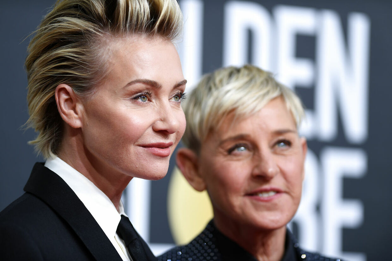 Ellen DeGeneres og hendes skuespiller-hutru Portia de Rossi.