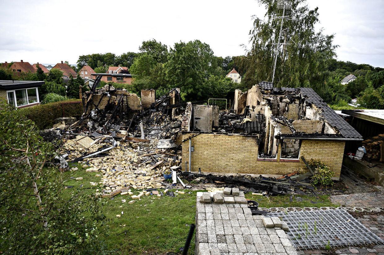 Udbrændt hus på Græskæmnervej 17 i Svendborg.