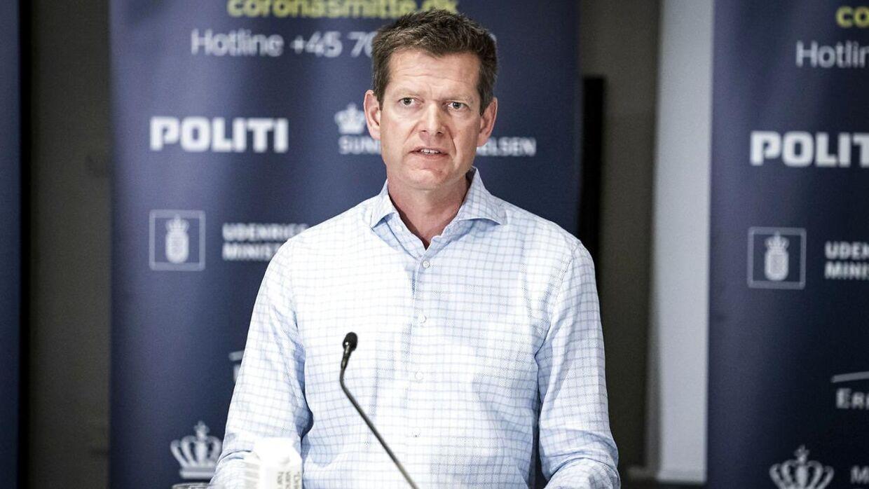 Direktør i Sundhedsstyrelsen Søren Brostrøm ved et af de mange pressemøder om covid-19 i foråret 2020.