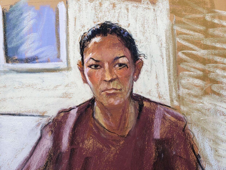Ghislaine Maxwell tegnet, mens hun lytter til dommeren 14. juli 2020.