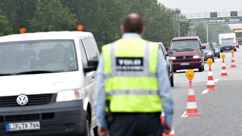 Arkivfoto. Der er lørdag lang ventetid ved den dansk-tyske grænse i forbindelse med indrejse.