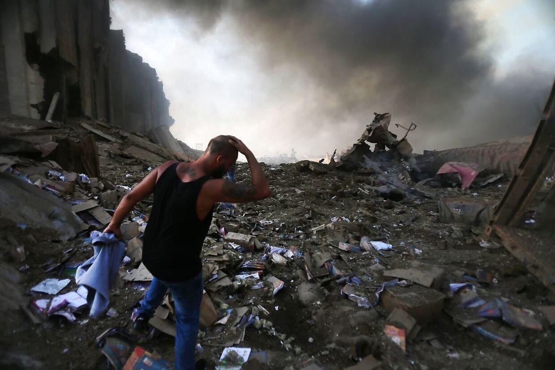 Ødelæggelserne kort efter eksplosionen i den libanesiske hovedstad. STR / AFP.
