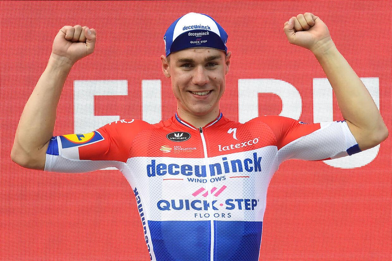 Fabio Jakobsen ved en tidligere sejr.