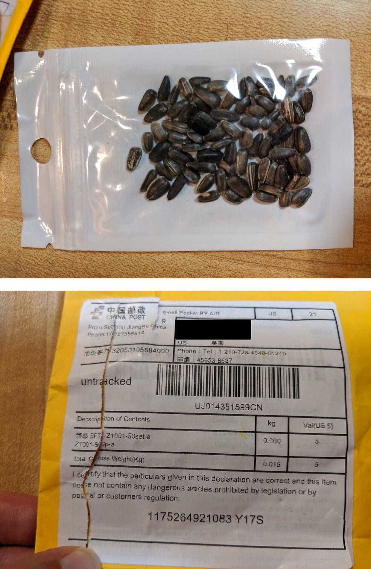 Mystisk fænomen. Amerikanske myndigheder har frigivet dette billede af de mystiske breve og pakker med frø fra Kina.