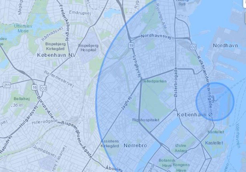 Eksplosionens radius er sat til et par hundrede meter i første cirkel, 3,2 kilometer i næste og 10 kilometer i tredje cirkel. Tallene er baseret på foreløbige estimater fra eksplosionens ødelæggelser i Beirut. Skaderne vil ikke være helt cirkulære, da trykbølgens udbredelse er afhængig af bygninger og landskabet.