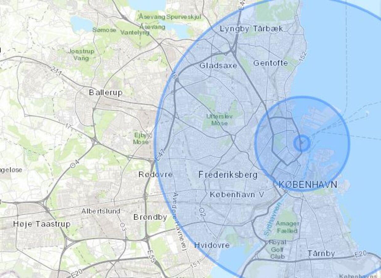 Eksplosionens radius er sat til et par hundrede meter i første cirkel, 3,2 kilometer i næste og 10 kilomeer i tredje cirkel. Tallene er baseret på foreløbige estimater fra eksplosionens ødelæggelser i Beirut.