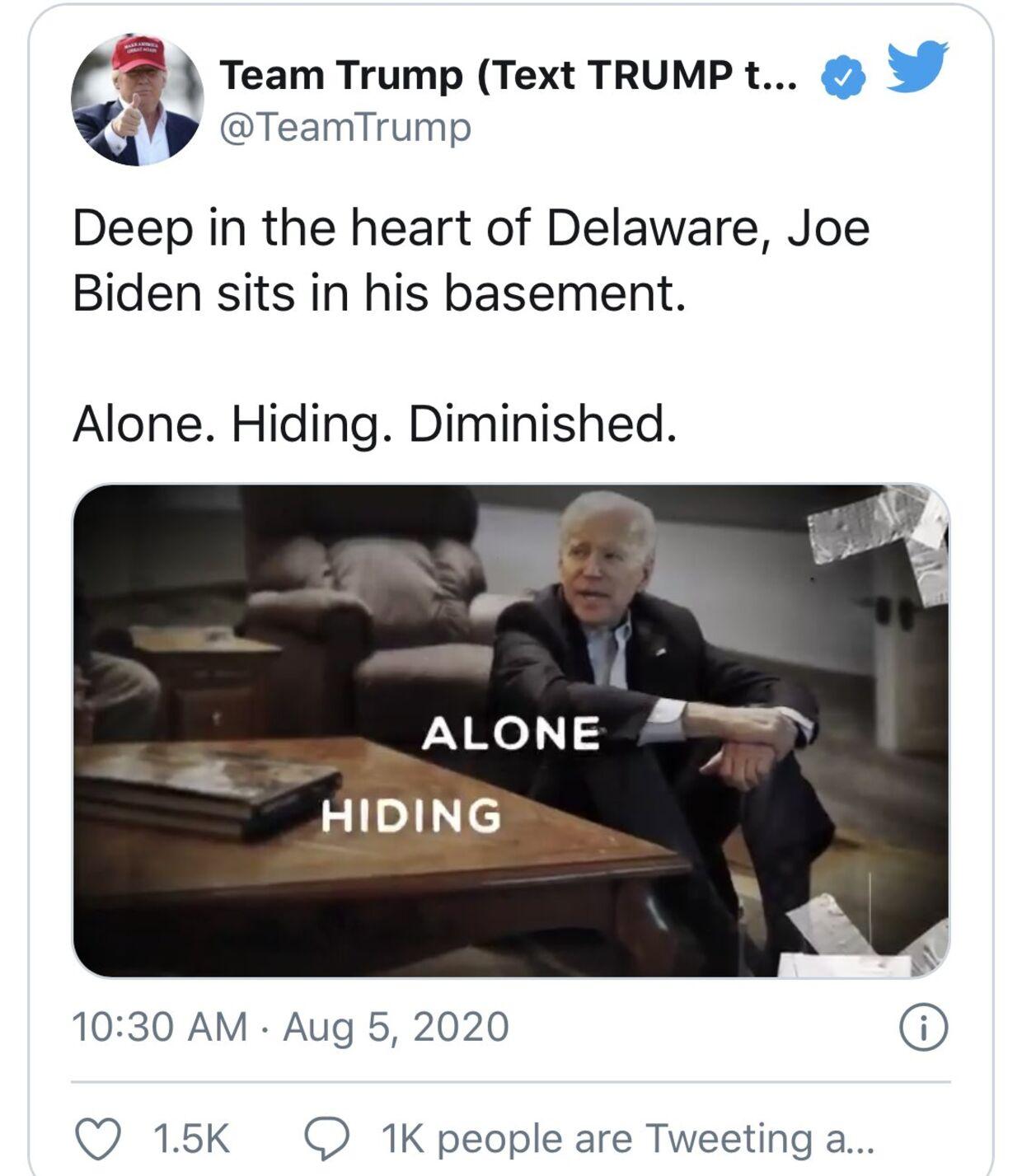 Trump-kampagnens forfalskede version. Joe Biden isoleret, på gulvet i egen kælder.