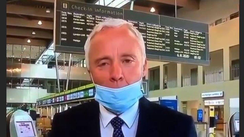 TV2s journalist Ole Kolster fik ikke sat mundbindet på korrekt, da han sendte live fra Billund. Ikke længe efter var han på Anders Hemmingsens instagramprofil