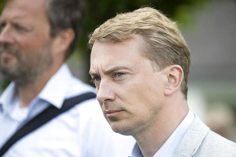 Morten Messerschmidt fotograferet i forbindelse med, at Dansk Folkeparti holder pressemøde efter sommergruppemødet på Sandbjerg Gods i Sønderborg, onsdag den 5. august 2020.