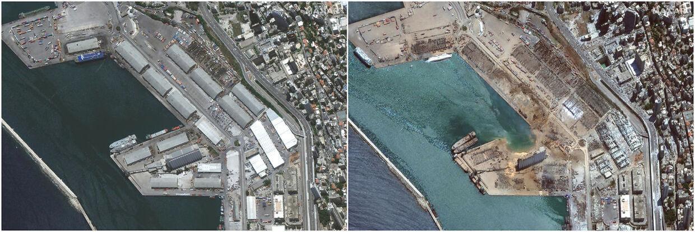 Sådan så det ud efter den massive eksplosion tirsdag ødelagde store dele af Beirut.