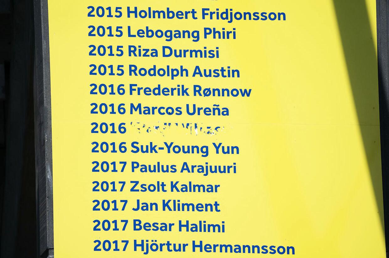 Kamil Wilczek klistermærke på landsholdsvæggen i Brøndby fredag den 7. august 2020. Klistermærket er blevet vandaliseret efter FCK torsdag offentliggjorde at de har købt den tidligere Brøndbyspiller.. (Foto: Claus Bech/Ritzau Scanpix)