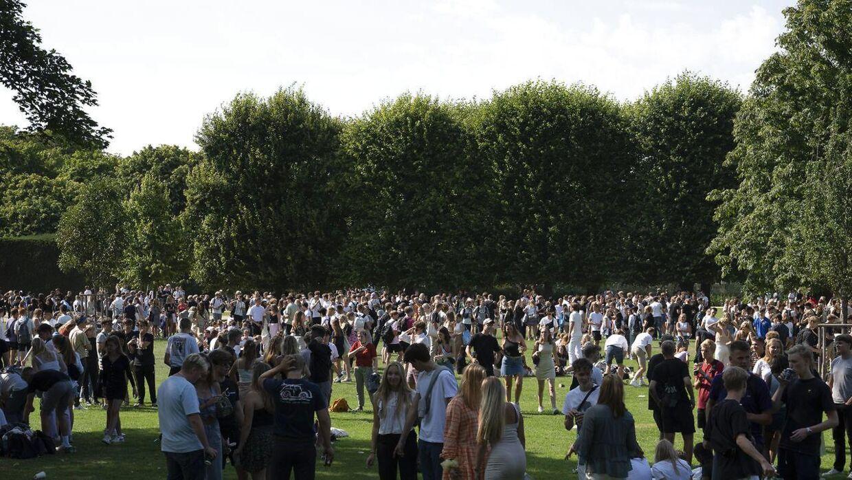 Festglade gymnasieelever i Kongens Have efter første skoledag august 2020.